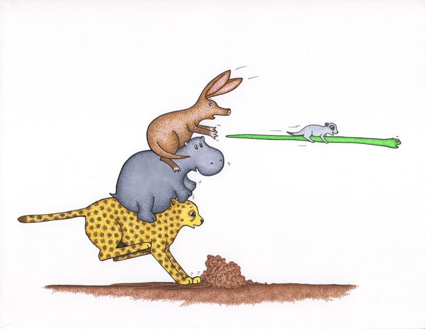Cheetah, Snake Meerkat, Aardvark & Hippo from Run, Cheetah, Run