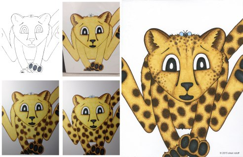 Cheetah illustration progression