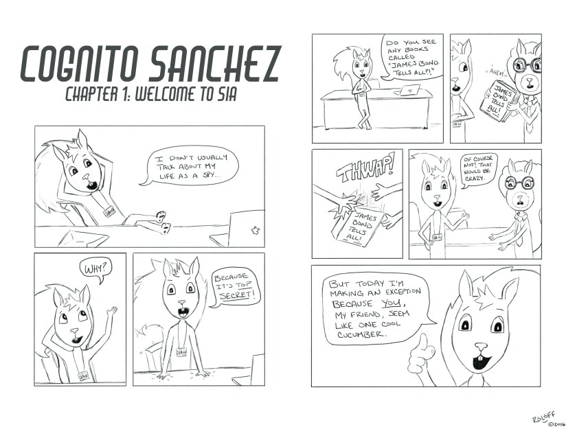 Cognito Sanchez: opening spread by Sheri Roloff