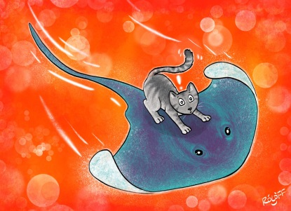 Stingray and Gray Cat Storm the Red Galaxsea by Sheri Roloff